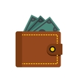 Wallet with dollars icon flat style vector image vector image