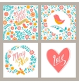 Wedding set of invitation cards with flowers and vector image
