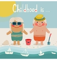 Summer Beach Children Friends Sunbathing vector image