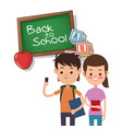 back to school boy and girl board apple alphabet vector image