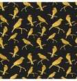 Seamless pattern with golden birds on black vector image