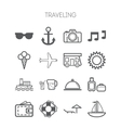 Set of simple icons for traveling vector image