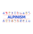 alpinism minimal infographic banner vector image