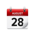 August 28 flat daily calendar icon Date vector image vector image