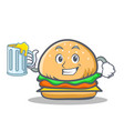 burger character fast food with juice vector image vector image