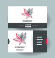business cards design with abstract red flower vector image