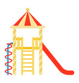 childrens town with a slide icon flat isolated vector image