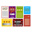 collection colorful lottery tickets vector image vector image