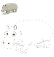 Connect the dots to draw animal educational game vector image