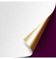 Curled Golden corner paper on Vinous Background vector image vector image