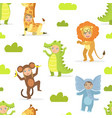 cute kids in african animals costumes seamless vector image vector image