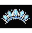 diadem crown feminine form kokoshnik with blue sto vector image vector image