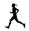 female runner running marathon black silhouette vector image vector image