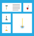 flat icon mop set of besom broom broomstick and vector image vector image