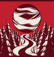 hand drawn landscape with planet empty road vector image vector image