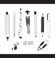 hand drawn stationery set vector image