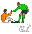 male soccer player helping each other in the game vector image vector image