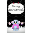 merry christmas greeting card of cute snowman vector image
