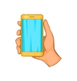Mobile phone in hand icon cartoon style vector image vector image