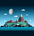 mountains and hills on island sea with moon on vector image vector image