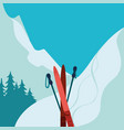 Mountains and ski equipment Winter background vector image
