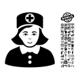 Nurse Flat Icon With Bonus vector image vector image