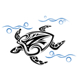Old turtle swim in ocean water vector image vector image