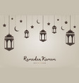 ramadan kareem background hanging lanterns vector image