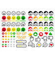rating review user emoji flat icons set vector image vector image