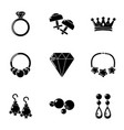 rhomboid icons set simple style vector image
