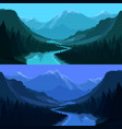 river forest and mountains at sunrise landscape vector image