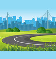 road and park with city buildings in background vector image vector image