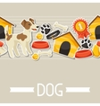 seamless pattern with cute sticker dogs icons vector image