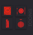 set disco ball vinyl player with a vinyl disk vector image vector image