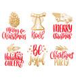 set hand written christmas phrases hand vector image vector image