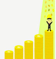 side view of a businessman climbing bitcoins vector image