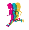 silhouette colored girls running icon vector image vector image