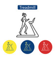 treadmill fitness flat icons vector image