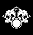 two skull detail artwork hand drawing vector image vector image