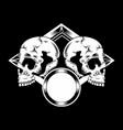 two skull detail artwork hand drawing vector image vector image