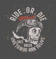 vintage grunge style skull wearing helmet retro vector image vector image