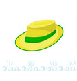 a man straw straw hat with a green ribbon yellow vector image vector image