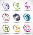 Abstract contemporary style icons 3 vector image
