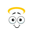 angel emoji with sincere smile isolated emoticon vector image