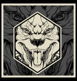 angry pitbull mascot head on a black background vector image vector image