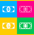 bank note dollar sign four styles of icon on four vector image vector image