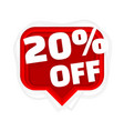 banner 20 off with share discount percentage vector image