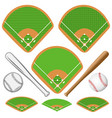 baseball fields leather ball and wooden bats vector image vector image