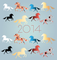 bright festive New Years background with horses vector image
