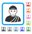 buddhist monk framed happy icon vector image vector image